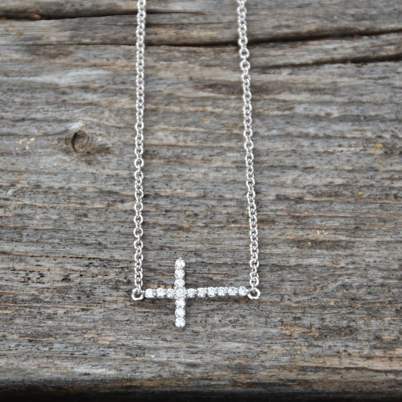 "16"" + 2"" Rhodium Plated CZ Sideways Cross Necklace"