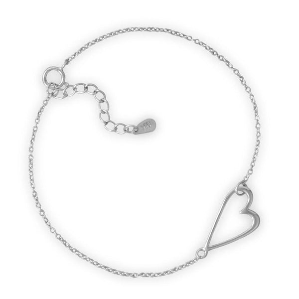 "7"" + 1"" Rhodium Plated Sideways Heart Bracelet"