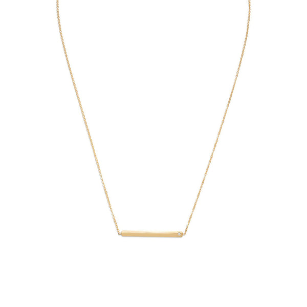"18"" 14 Karat Gold Plated Bar Necklace with CZ"
