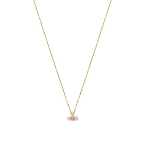 14 Karat Gold Plated Pencil Cut Rose Quartz Necklace Item #: 34196