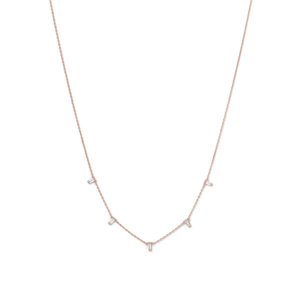 14 Karat Rose Gold Plated Dangling CZ Necklace Item #: 34204