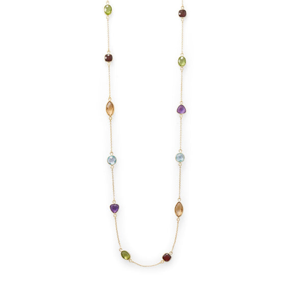 "Multi Stone Madness! 25"" 14 Karat Gold Plated Multi Stone Necklace"