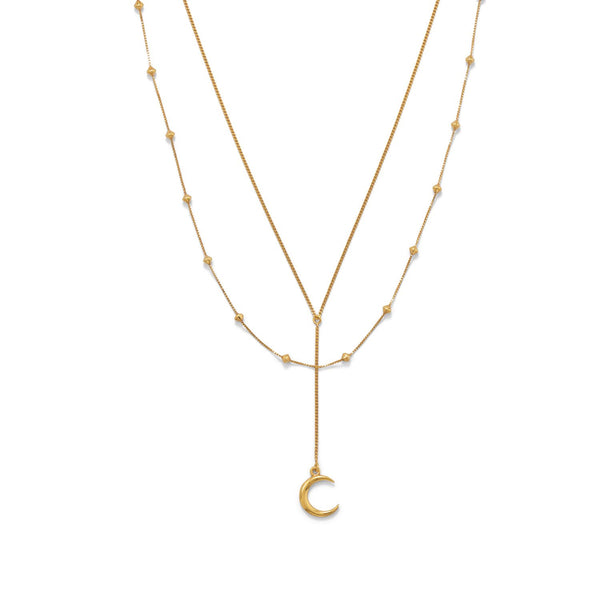 "16""+2 14 Karat Gold Plated Double Strand Moon Necklace"