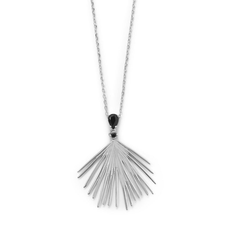 "LBD Essentials! 16""+2 Black CZ Wire Fan Necklace"