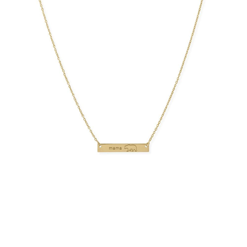 "16""+2"" 14K Gold Plated Sterling Silver ""Mama Bear"" Bar Necklace"