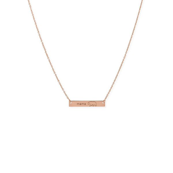"16""+2"" 14K Rose Gold Plated Sterling Silver ""Mama Bear"" Bar Necklace"