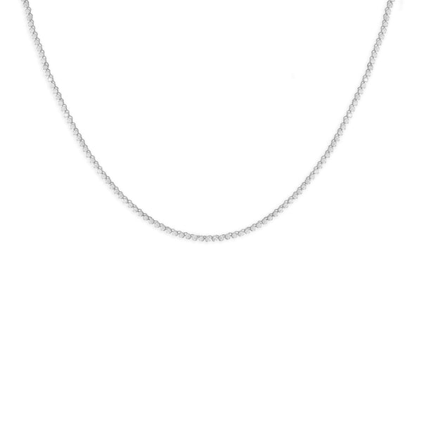 Rhodium Plated 2mm Round CZ Tennis Necklace