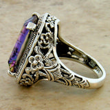 925 Sterling Silver Art Deco Antique Style 7 Ct. Mystic Quartz Filigree Ring #30359