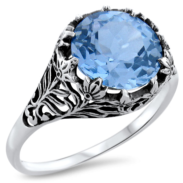 Sterling Silver Art Deco Style 4.5 Ct. Sky Blue Topaz Color Syn. Spinel Filigree Ring #30372