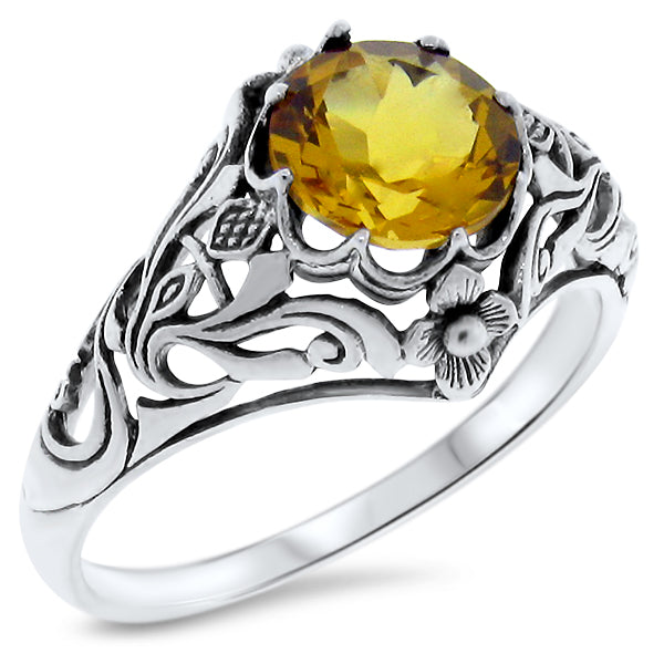 "Sterling Silver Art Nouveau Style 2 Ct. Citrine ""Scottish Thistle"" Ring #30377"