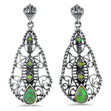 925 Sterling Silver Art Deco Antique Style Green Opal Earrings #30384