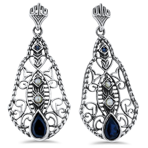 925 Sterling Silver Art Deco Antique Style Sapphire & Pearl & Filigree Earrings #30400