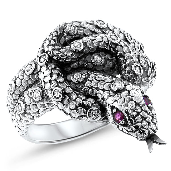 Sterling Silver Victorian Style Genuine Ruby Eyed Snake Ring With CZ Side Stones #30401