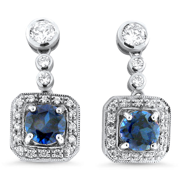 Sterling Silver Art Deco Style Sapphire Earrings With CZ Side Stones #30404