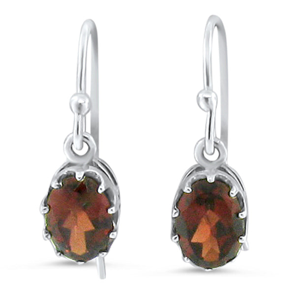 925 Sterling Silver Art Deco Antique Style Genuine Garnet Filigree Earrings #30407