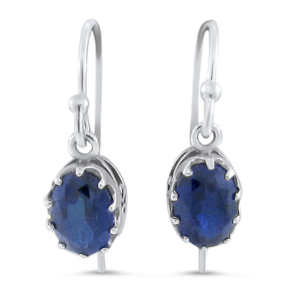 925 Sterling Silver Art Deco Antique Style Sapphire Filigree Earrings #30409