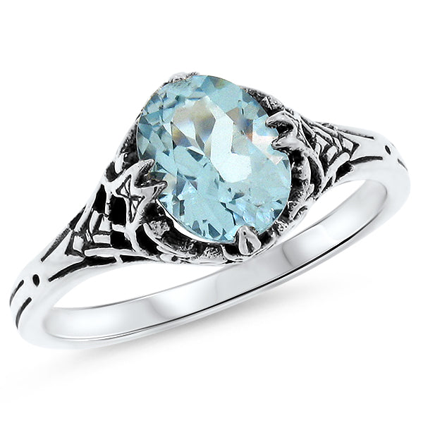 925 Sterling Silver Art Deco Antique Style Genuine 2 Carat Sky Blue Topaz Ring #30416