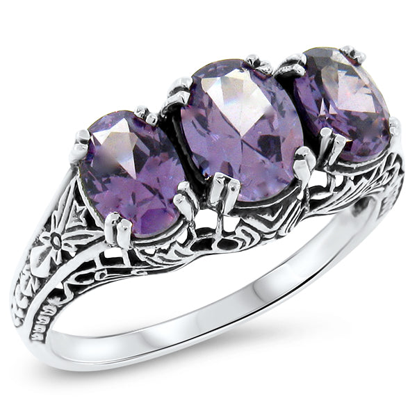 Sterling Silver Art Deco Antique Style  Alexandrite Three-Stone Filigree Ring #30422