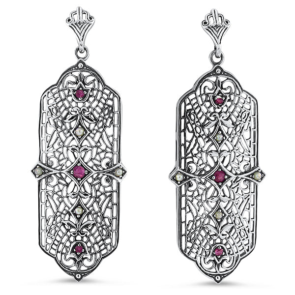 925 Sterling Silver Art Deco Antique Style Genuine Ruby & Filigree Earrings #30423