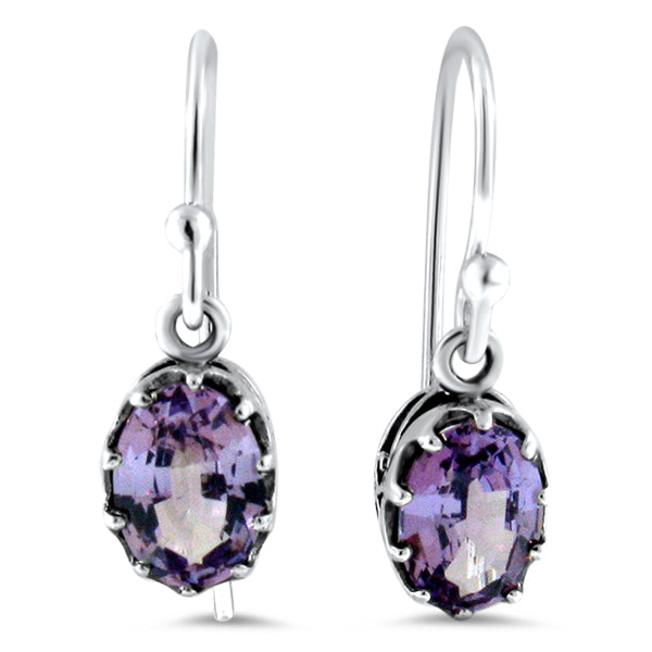 Sterling Silver Art Deco Design Color Changing Alexandrite Earrings #30426