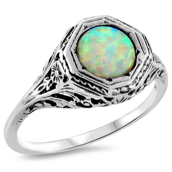 925 Sterling Silver Art Deco Antique Style Opal Filigree Ring #30432