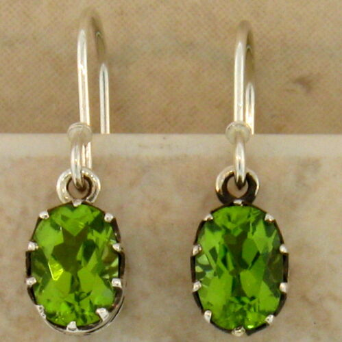 925 Sterling Silver Art Deco Antique Style Genuine Peridot Earrings #30437