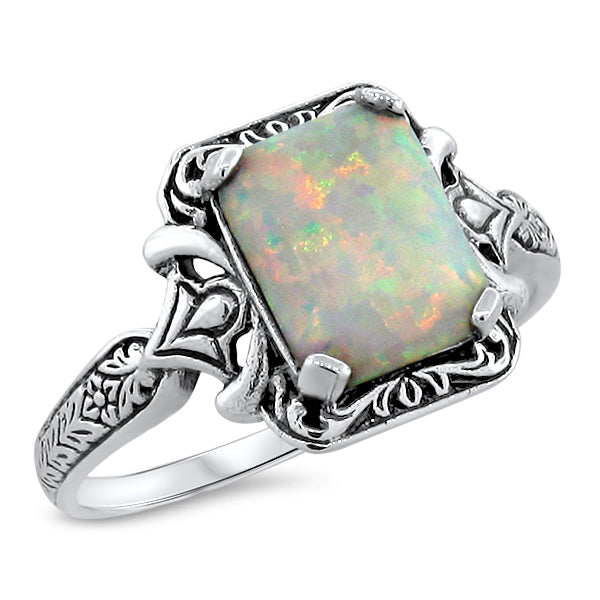 925 Sterling Silver Antique Victorian Style Opal Ring #30468