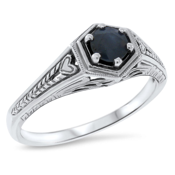 Genuine Sapphire Ring, Sterling Silver #30512
