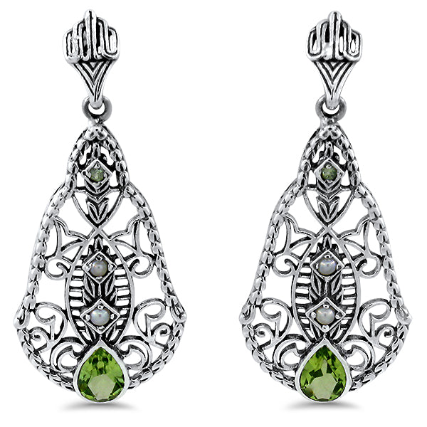 925 Sterling Silver Antique Style Genuine Peridot & Freshwater Pearl Filigree Earrings #30517