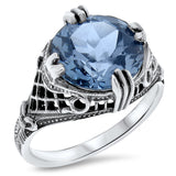 Sterling Silver Art Deco Style 4 Carat Synthetic Spinel In Aquamarine Color Ring #30526