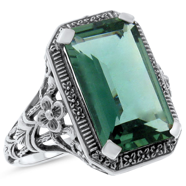 Sterling Silver Art Deco 6  Emerald Green Quartz Filigree Ring #30533