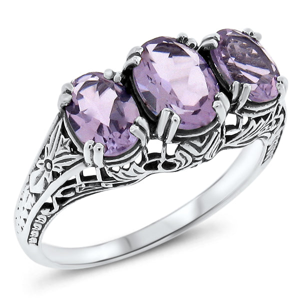 3 Ct. Genuine Brazilian Amethyst Three-Stone Ring, Sterling Silver #30553
