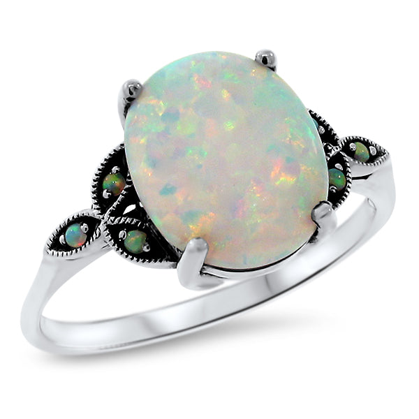 925 Sterling Silver Antique Victorian Style Opal Ring #30581