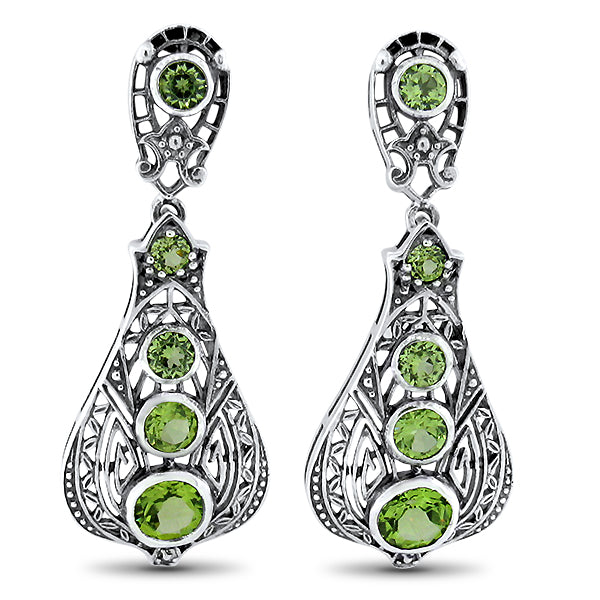 925 Sterling Silver Antique Victorian Style Genuine Peridot Filigree Earrings #30587