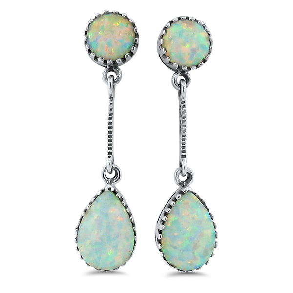 925 Sterling Silver Antique Victorian Style Opal Earrings #30589