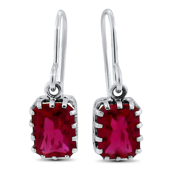 925 Sterling Silver Antique Victorian Style 4 Carat Ruby Earrings #30598