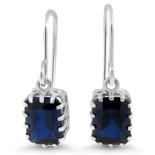 925 Sterling Silver Antique Victorian Style 4 Carat Sapphire Earrings #30599