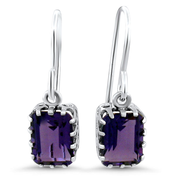925 Sterling Silver Antique Victorian Style Amethyst Earrings #30601