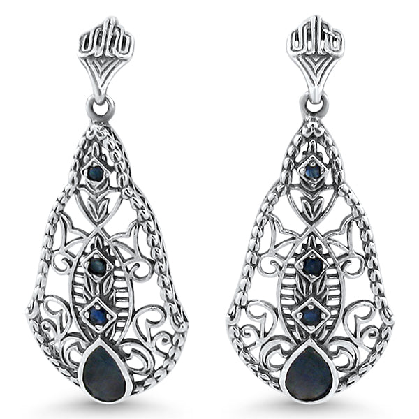 925 Sterling Silver Antique Style Genuine Sapphire Filigree Earrings #30602