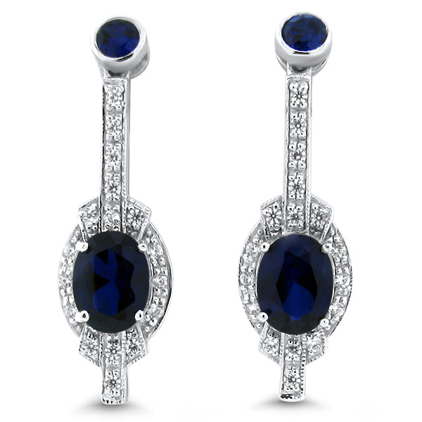Sterling Silver Art Deco Antique Style Sapphire & Cubic Zirconia Earrings #30608