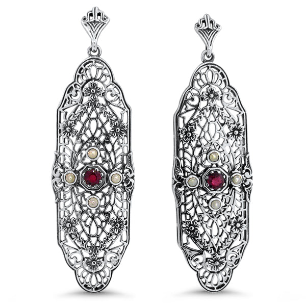 Sterling Silver  Edwardian Style Genuine Ruby & Freshwater Pearl Filigree Earrings #30610