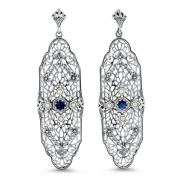 925 Sterling Silver Edwardian Style Genuine Sapphire & Pearl Filigree Earrings #30611