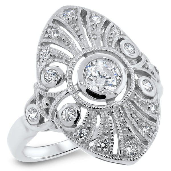 Sterling Silver Art Deco Style CZ Rhodium Plated Finish Filigree Ring #30621