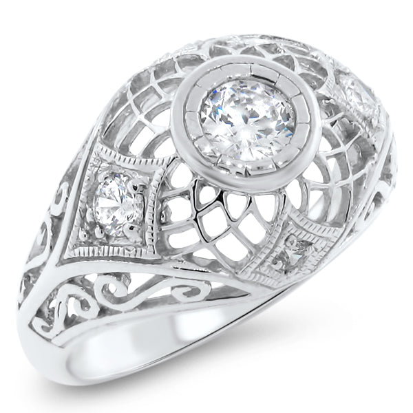 925 Sterling Silver Antique Style Cubic Zirconia Filigree Wedding/Engagement Ring,  #30622