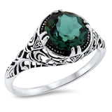 925 Sterling Silver Antique Style 2 Carat Emerald Green Quartz Filigree Ring #30624