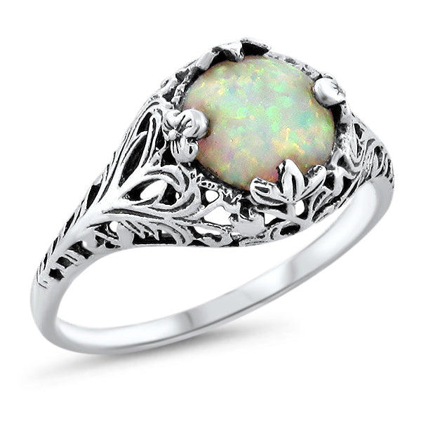 925 Sterling Silver Antique Style Opal Filigree Ring #30640