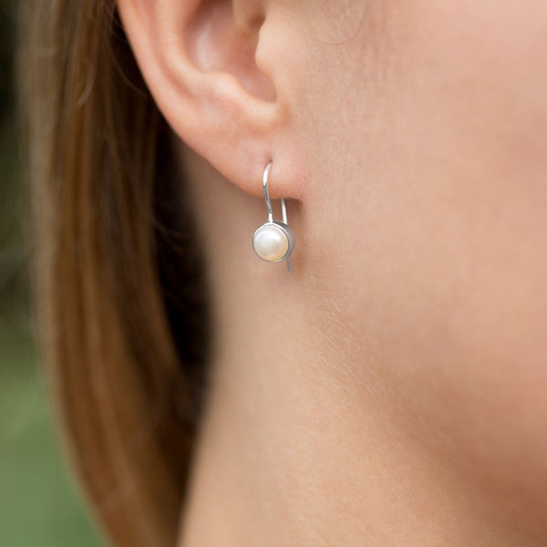 6mm White Cultured Freshwater Pearl Earrings on Euro Wire
