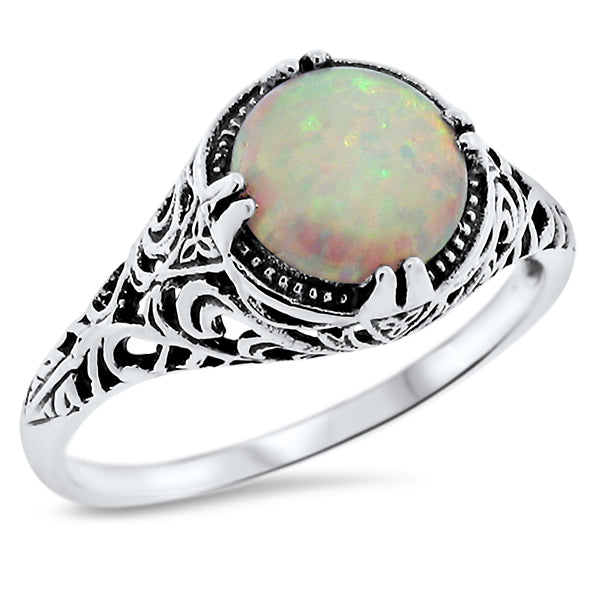 925 Sterling Silver Antique Style Opal Filigree Ring #30642