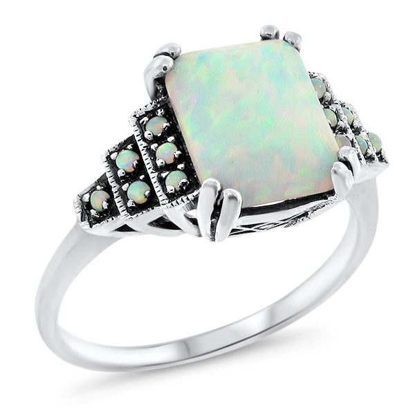 925 Sterling Silver Antique Art Deco Style Opal Filigree Ring #30648