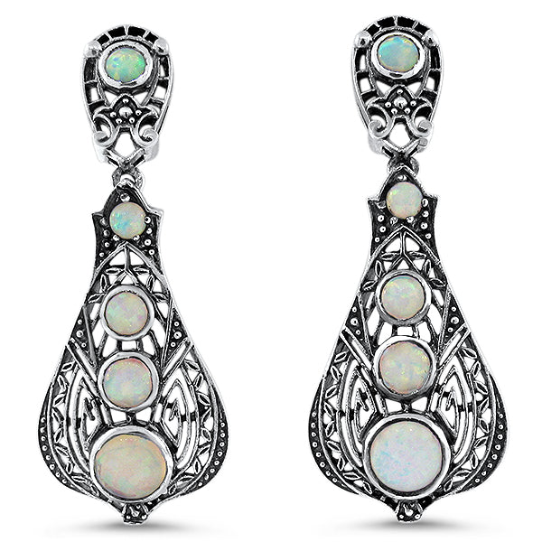 925 Sterling Silver Antique Victorian Style Opal Filigree Earrings #30652